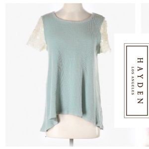 Pale Blue Knit Tunic with Short Lace Sleeves